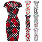 Women Floral 50's Vintage Style Retro Pin Up Cocktail Party Wiggle Pencil Dress