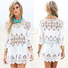 Women 3/4 Flare Sleeve Hollow Out Floral Lace Summer Beach Bikini Cover Up