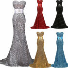 Sequins Mermaid Bridesmaid Formal Dresses Prom Gown Pageant Party Wedding Dress