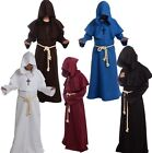 Mens Adult Medieval Monk Sorcerer Priest Friar Hooded Robe Costume Cosplay