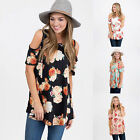 2017 Womens Floral Printing Cold Shoulder Top Blouse Casual Loose T Shirt S-XL