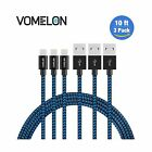 Lightning Cable 3Pack 10FT Nylon Braided Extra Long Tangle-Free Cord - NEW