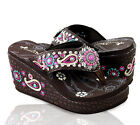 Montana West® Embroidered Paisley Platform Flip Flops, Sizes 6-11 Coffee/Pink