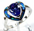 0.81 Ct Tanzanite & Blue Fire Opal Inlay 925 Sterling Silver Heart Ring size 6-9