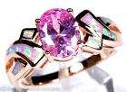 Rose Gold Plated Pink Topaz & Fire Opal 925 Sterling Silver Ring Sz 6-7