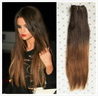 18 Inches Full Head Ombré Clip in 100% Real Human Hair Extensions Brown Blonde
