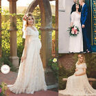 Pregnant Women's White Lace Maternity Dress Maxi Gown Short Sleeve Photo Shoot