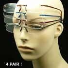 Reading glasses 4 pack rimless feather light tr90 clear lens flex arms power lot