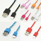 1m/2m/3m Braided Lightning Sync Data Cable Usb Charger For Iphone 7 6plus 5s 5c