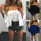 Fashion Women Off Shoulder Long Sleeve Pullover Casual Blouse Summer T-ShirtLAUS