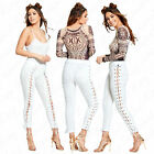 Womens Ladies Stylish Front Tie Lace Up Edgy Trouser Party Leggings Jeans Pants