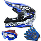Wulfsport Sceptre Motocross Helmet Off Road MX + LEO Adult Goggles Gloves Blue