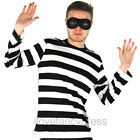 ADULT BURGLAR COSTUME ROBBER FANCY DRESS STRIPE TOP AND EYEMASK THIEF CONVICT