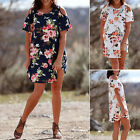Womens New Ladies Cold Shoulder Floral Print Mini Loose Long Shirt Dress Summer