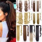 Lady Real Ponytail Wrap Around Clip In Hair Extensions Brown Black Fake Hair TG5