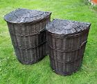 Wicker Laundry Bin Basket Dark Brown Half Round Bathroom Laundry Storage Lid