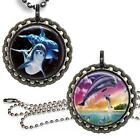 Magical Dolphins Children's Bottle Cap Necklace w/ Chain Handcrafted Jewelry