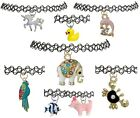 ANIMALS Stretch Choker Tattoo Necklace Pendant Henna Vintage Charm Alloy Puppy