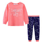 Pyjamas Girls Winter Cotton Knit Pjs (Sz 3-7) Set Pink Navy Dream Big Sz 3 4 5 6