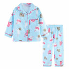 Pyjamas Girls Winter Cotton Flannel 2pc Pjs (Sz 3-7) Set Blue BFFS Milk & Cookie