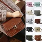 Vintage Leather Handbags Women's Lock Purse Ladies Solid Color Shoulder Bags