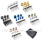 28pc 12-00Ga Steel Ear Tapers Screwed Tunnels Plugs Expander Stretching Kit +Box