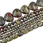 "Natural Dragon Bloodstone Gemstone Round Spacer Beads 15.5"" 4mm 6mm 8mm 10mm"