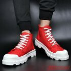 Stylish Mens High Top Canvas Shoes Creeper Sport Shoes Breathable Snaker Lace Up