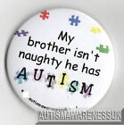 Autism Button Badges, My brother isn't naughty, he has autism