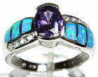 Amethyst & Blue Fire Opal Inlay  .925 Sterling Silver Solitaire Ring size 6,8,9
