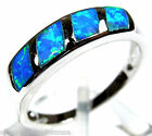 Blue Fire Opal Inlay Solid 925 Sterling Silver Band Ring size 7, 8, 9