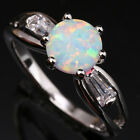 Implicit Beige White Fire Opal Topaz Fashion Silver Ring Size 6 7 8 9 T1115
