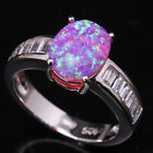 Direct selling Pink Fire Opal White Topaz Bowknot Silver Ring Size6 7 8 9 T1191
