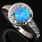 New arrival Blue Sun Moon Fire Opal White Topaz Silver Ring Size 6 7 8 9 T1169