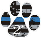Thin Blue Line Distressed Flag K-9 Paw 2* Decal for Police Sheriff Deputy