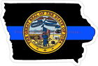 Thin Blue Line Iowa w/ State Seal Reflective Decal Sticker Police Sheriff Deputy