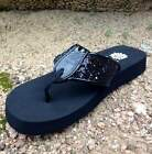 Yellow Box CAROLINA BLACK Sequin Glitter Wide Strap Glitz Basic Flip Flop Sandal