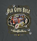 """OLD GUYS RULE """" THE RODFATHER """" S/S HOT RAT ROD V8 MUSCLE COUPE GUN M,L,XL,2X,3X"""