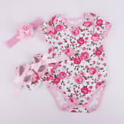 Clothing Shoes - 3pcs Newborn Infant Baby Girl Headband+Romper Bodysuit+Shoes Outfits Set Clothes