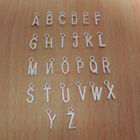 26 Letters A-Z Alphabet Charms Bright Silver , Add On letter initial charm 0001