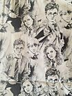 HARRY POTTER pencil portraits: 100% LICENSED cotton  : by the 1/2 metre