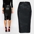 Ex River Island New Black Faux Leather High Waist Bodycon Midi Pencil Skirt £35