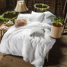 Merryfeel Waffle Weave Duvet Cover Set 100% Cotton White bedding set Queen King image