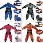Wulfsport Kids Motocross Camo Suit + LEO Junior MX Youth Helmet Gloves Goggles