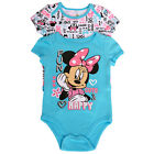 Disney Baby Girls Blue White Minnie Letter Print 2 Pc Bodysuit Pack 3-9M