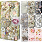 Chic Bling Rhinestone Pearl Leather Cover Flip Wallet Protective Case for Huawei