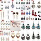1pair Women Vintage Bohemian Tassel Earrings Dangle Drop Crystal Pearl Jewelry A