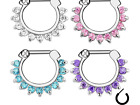 Septum Clicker Nose Daith Cartilage Tragus  Ring Surgical Steel Crystal Piercing