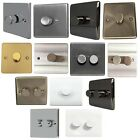 1&2 Gang Push on/off Wall Dimmer Switches Double Pole Electrical White Chrome