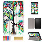 For Amazon Kindle Fire HD 8 2017 7th Gen Pattern Wallet Leather Case Flip Cover